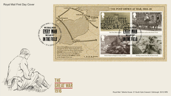 The First World War 1916 Minisheet First Day Cover  (3771741)