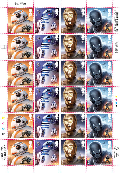 STAR WARS™ 2017 Droids Official HALF Stamp Sheet of 24