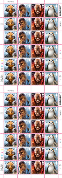 STAR WARS™ 2017 Aliens & Creatures Official FULL Stamp Sheet of 48