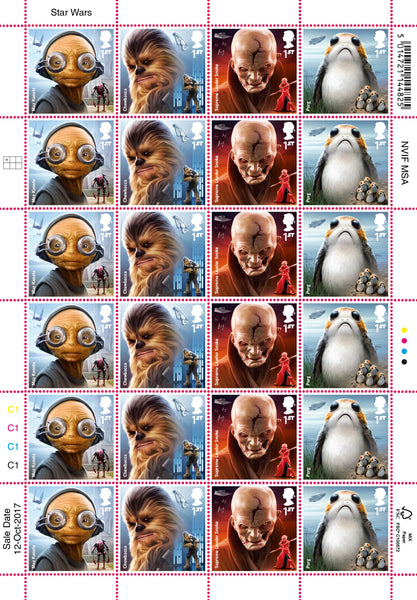 STAR WARS™ 2017 Aliens & Creatures Official HALF Stamp Sheet of 24