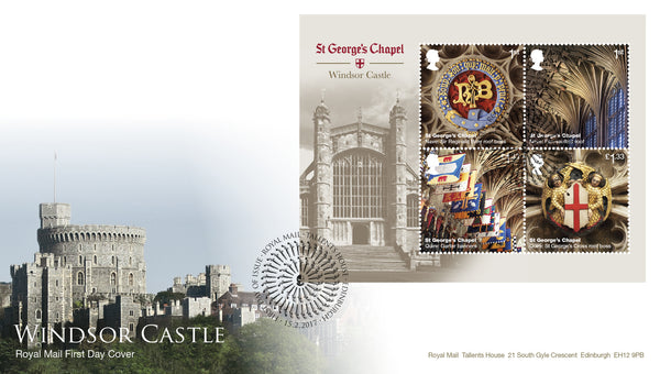 (j) Windsor Castle Minisheet First Day Cover Tallents House FDI Cancel - 3773078