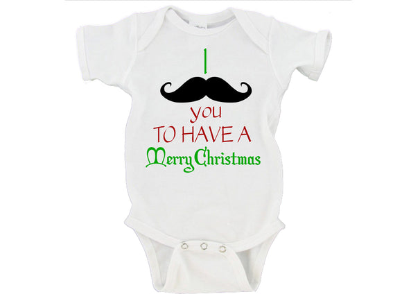 I Mustache You To Have A Merry Christmas Gerber Onesie ®