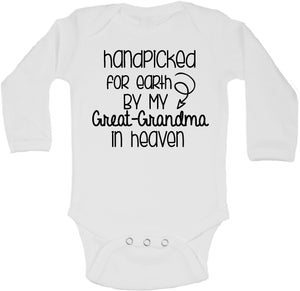 Handpicked for Earth By My Grandma in Heaven (Custom Name) w/ Arrow Gerber Onesie ® Long Sleeve