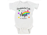 Handpicked For Earth By My Angel In Heaven Gender Neutral Rainbow Baby Bodysuit Onesie - RB1
