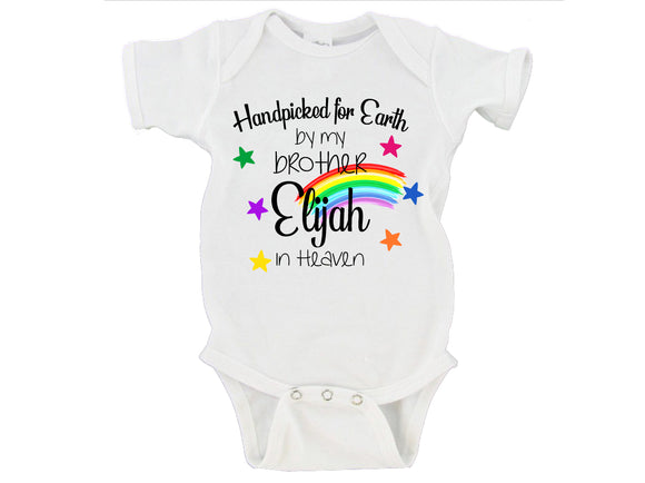 Handpicked for Earth by my Brother in Heaven Baby BodysuitBaby Announcement