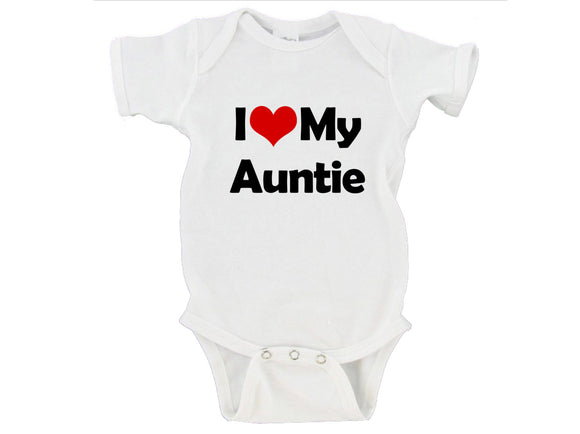 I Heart Love My Auntie / Uncle / Custom Name Gerber Onesie ®