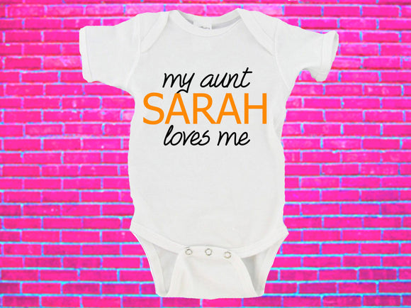 My Aunt Loves Me Custom Name Gerber Onesie ®