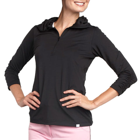 GG Blue Women's 3/4 Sleeve 1/2 Zip Carrie