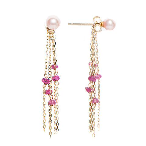 Ruby, Freshwater Pearl Earrings