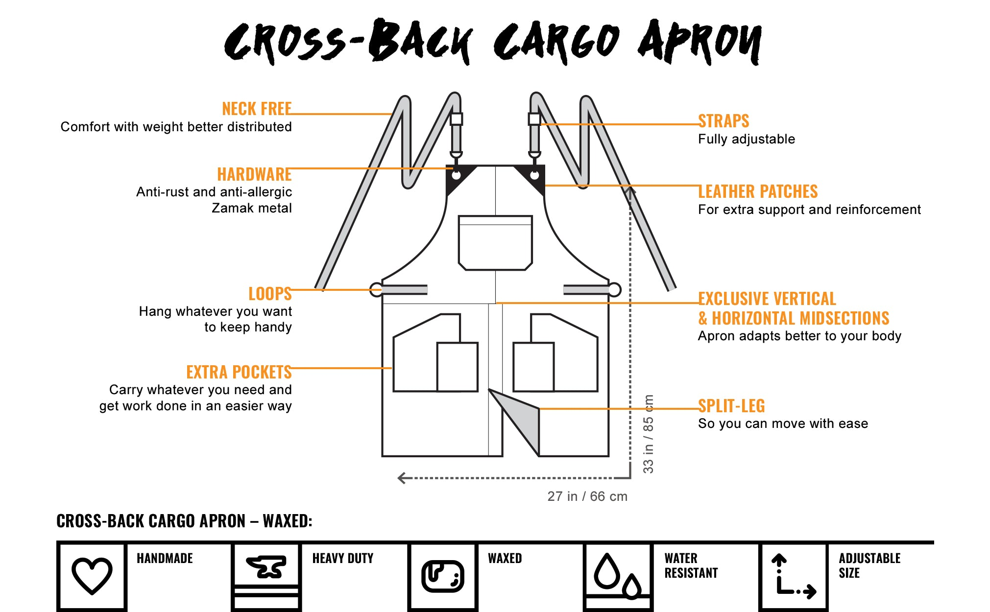 Under NY Sky Cross-Back Cargo Apron - Features Chart