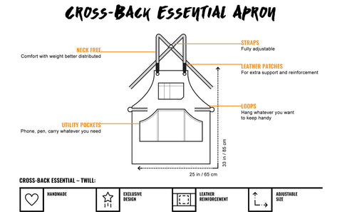 Under Ny Sky Essential Cross-Back Twill Apron Features Chart