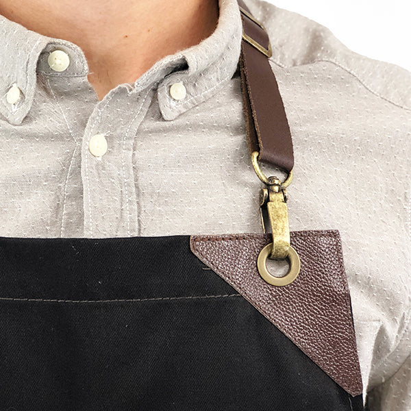 Under Ny Sky Barista Apron: Vegan Leather Straps, Loops and Reinforcements