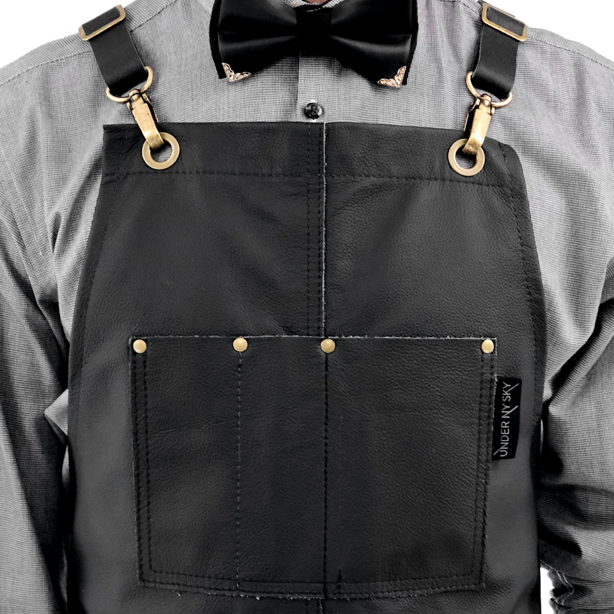 Under Ny Sky Full Leather Apron: Double Stitched and Riveted Pockets