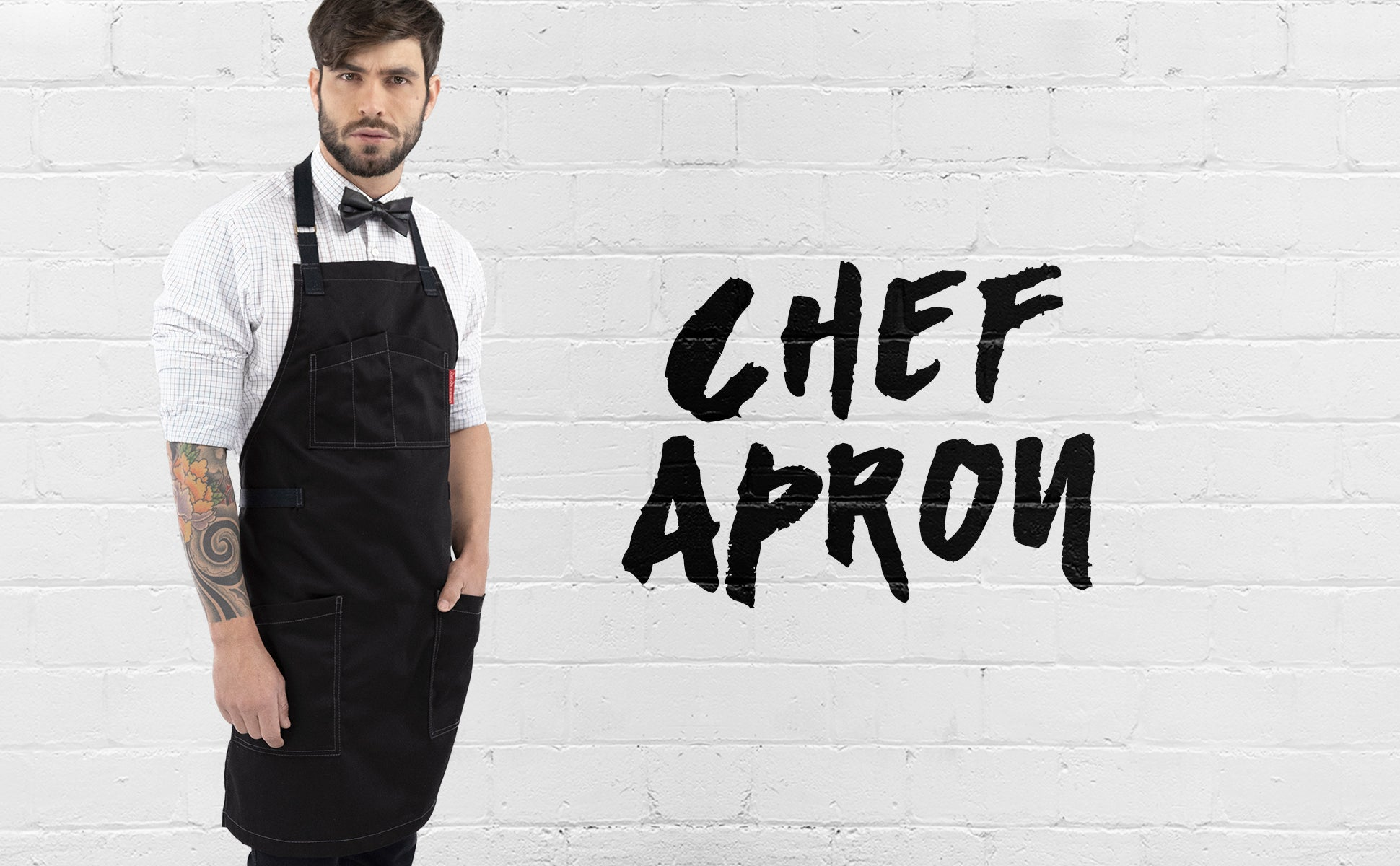 Under NY Sky Chef Apron – Professional Black Twill – Cotton Straps - Smart Pockets