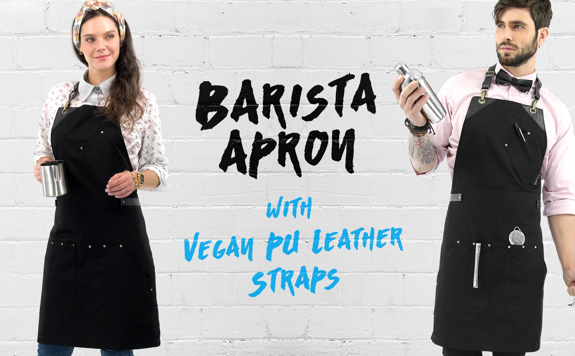 Under Ny Sky Aprons barista apron: vegan leather straps and loops, riveted pockets