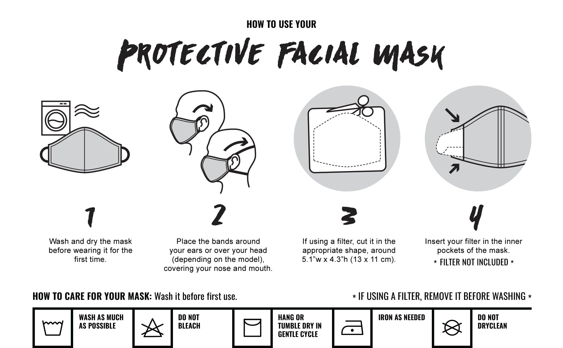How to use our Under NY Sky Protective Facial Masks - Pocket For Filter - Washing Tips