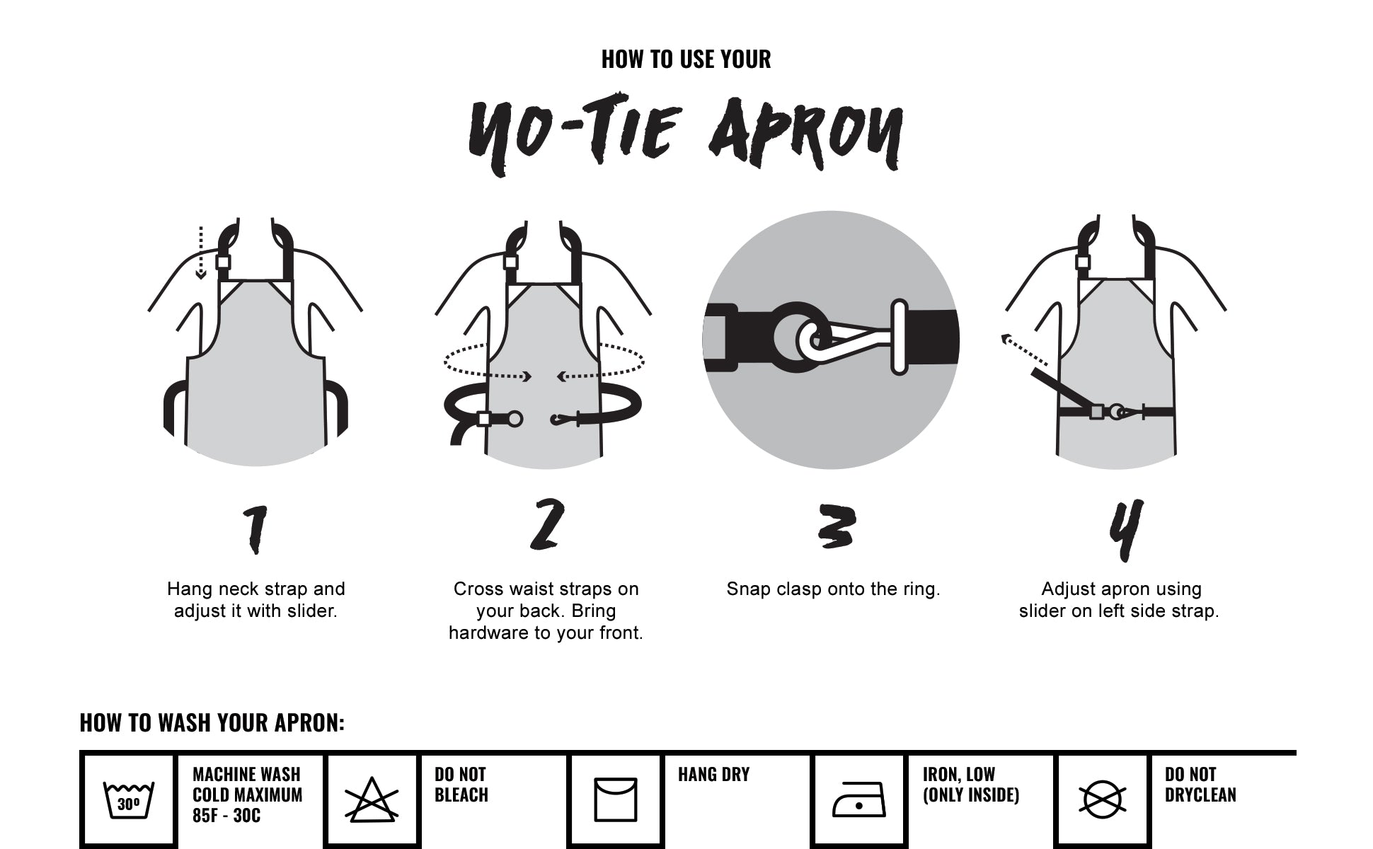 Under NY Sky No-Tie Twill Apron - How To Wash Chart