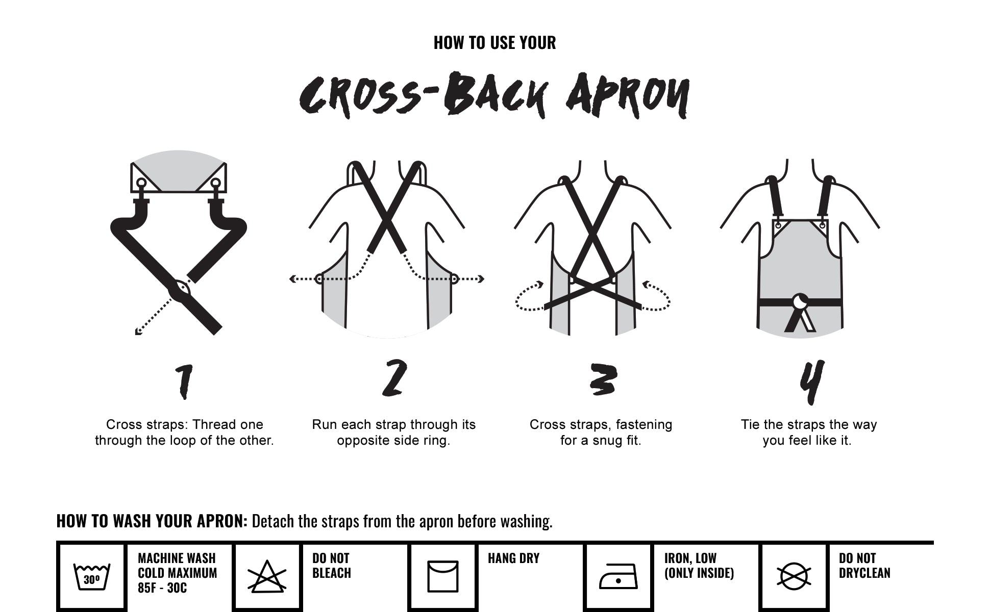 Under NY Sky Cross-Back Twill Apron - How to Wash your Apron Chart