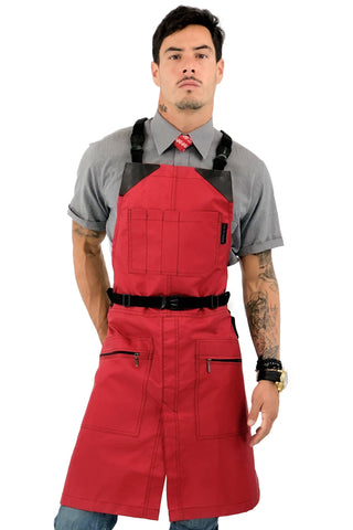 Barber Apron - Water & Chemical Proof, CrossBack, Zip Pocket, Buckle Closure - Hairstylist, Colorist
