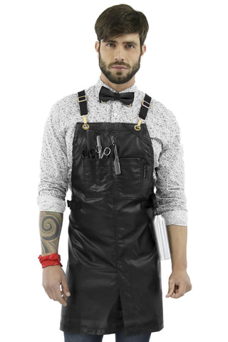 Barber Apron - CrossBack, Water Resistant Coated Fabric, Split-Leg - Salon, Hairstylist