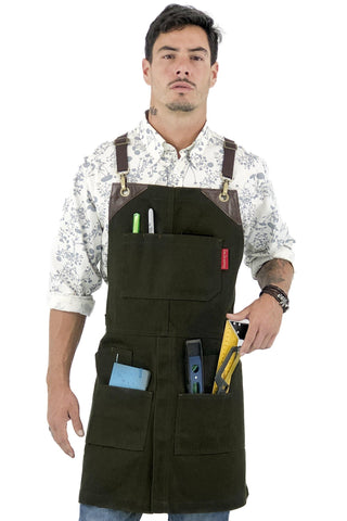 Utility Apron - Waxed Canvas, Heavy-Duty, CrossBack, Tool Pockets, Leather Trim – Shop, Woodwork