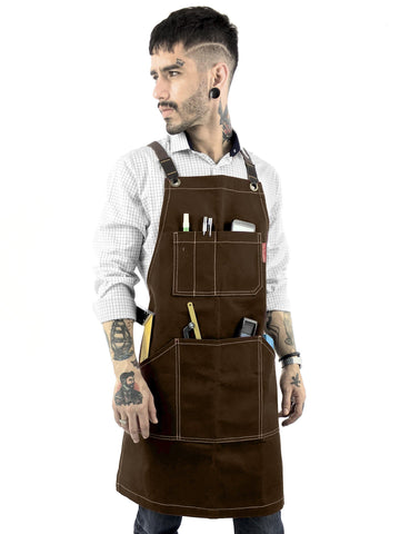 Work Apron - Waxed Canvas, Tool Pockets, CrossBack, Heavy-Duty, Chef, Woodwork, BBQ, Shop
