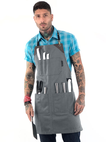 Utility Apron - Heavy-Duty Canvas, Folds into Knife Roll, Leather Trim - Chef, BBQ, Butcher