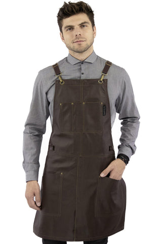 Leather Apron - Real Leather Body, Pockets & Crossback Straps - Split-Leg, Riveted, Lined