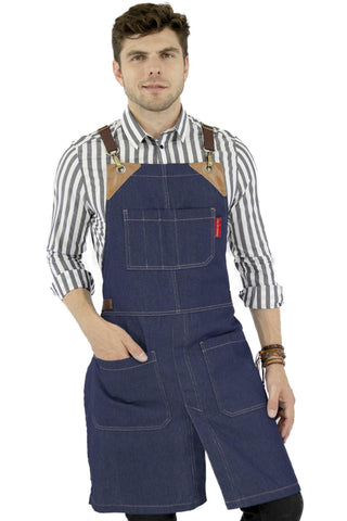 Denim Aprons - CrossBack, Leather Trim, Split - Chef, Bartender, BBQ, Shop, Barber, Salon
