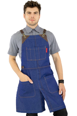 Leather Straps Apron - Denim or Waxed Canvas, CrossBack, Easy-Fastening - Carpenter, Shop, Work