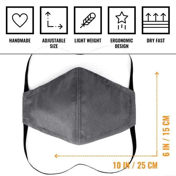 Face Mask - Over Head, Double Layer, Filter Pocket, Washable - Blue Denim, Black Twill, Gray Twill