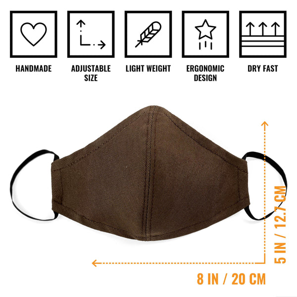 Face Mask, Double Layer, Filter Pocket, Reusable, Washable, Twill Gray, Black, Green, Brown, More...