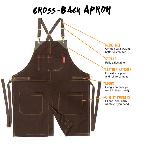 Chef Apron - Coffee Brown Canvas, CrossBack, Leather Trim, Split, Chef, Bartender, Shop, Barber