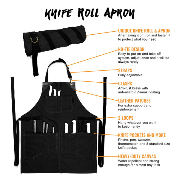 Utility Apron - Heavy-Duty Black Canvas, Folds into KnifeRoll, Leather Trim - Chef, BBQ, Butcher