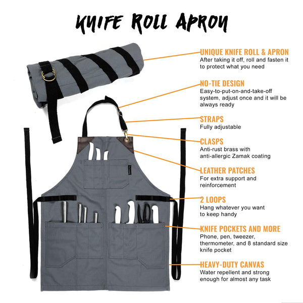 Utility Apron - Heavy-Duty Gray Canvas, Folds into KnifeRoll, Leather Trim - Chef, BBQ, Butcher