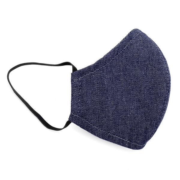 Under NY Sky Safety Mask, Blue Denim: side view.