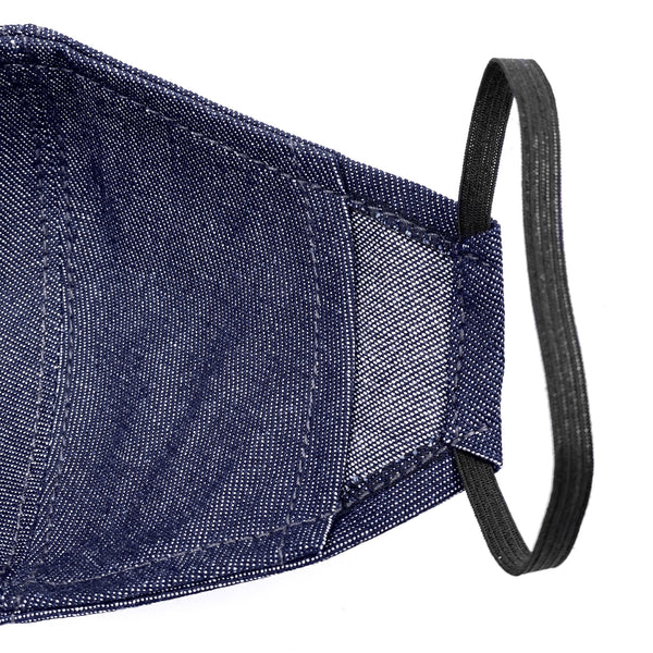 Under NY Sky Safety Mask, Blue Denim: elastic straps, elastic bands closeup.