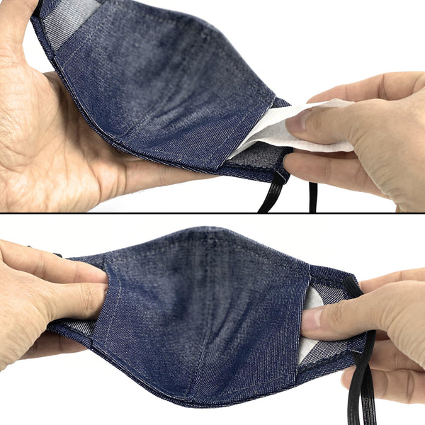 Under NY Sky Safety Mask: how to insert your filter into the pockets of the mask.