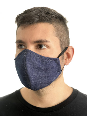 Under NY Sky Safety Mask with Pocket for Filter: Blue Denim