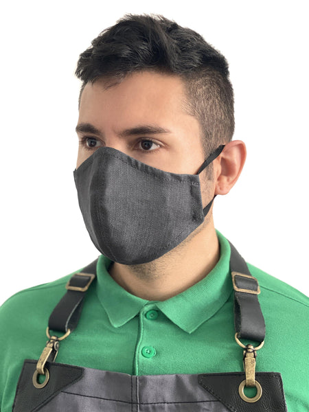 Face Mask - Double Layer, Filter Pocket - Reusable, Washable - Blue, Gray, Black Denim - Adult