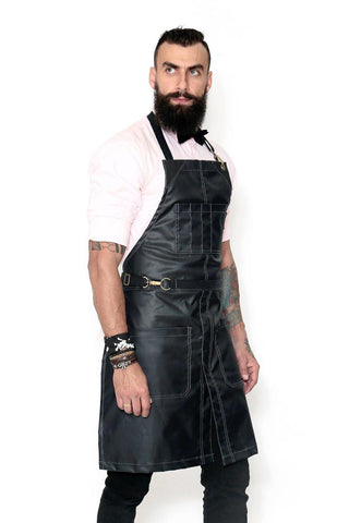 Salon Apron - Water Resistant, Easy-Fastening No-Tie, Adjustable - Hairstylist, Barber, Chef