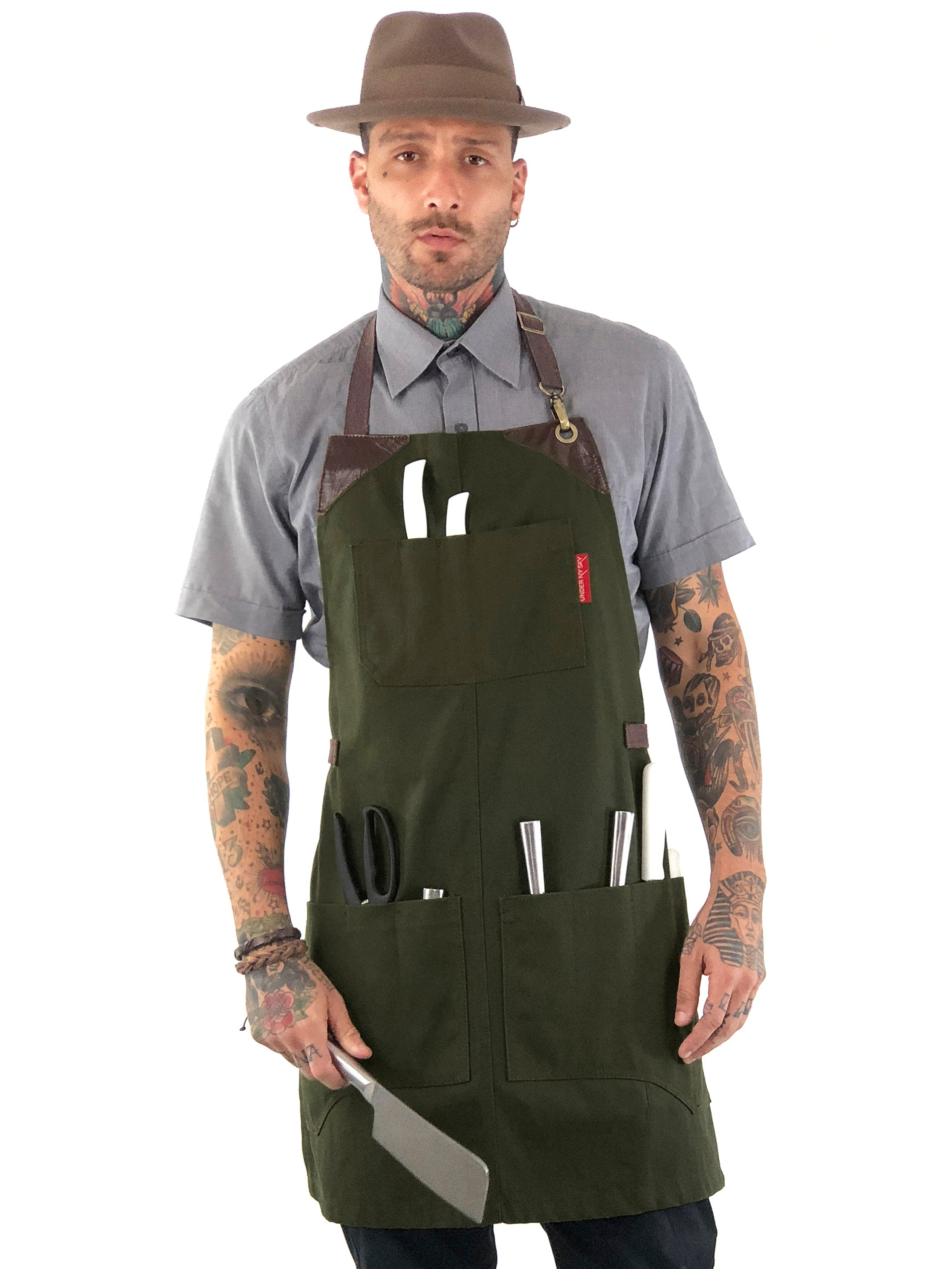 Knife-Roll Apron - Green Canvas