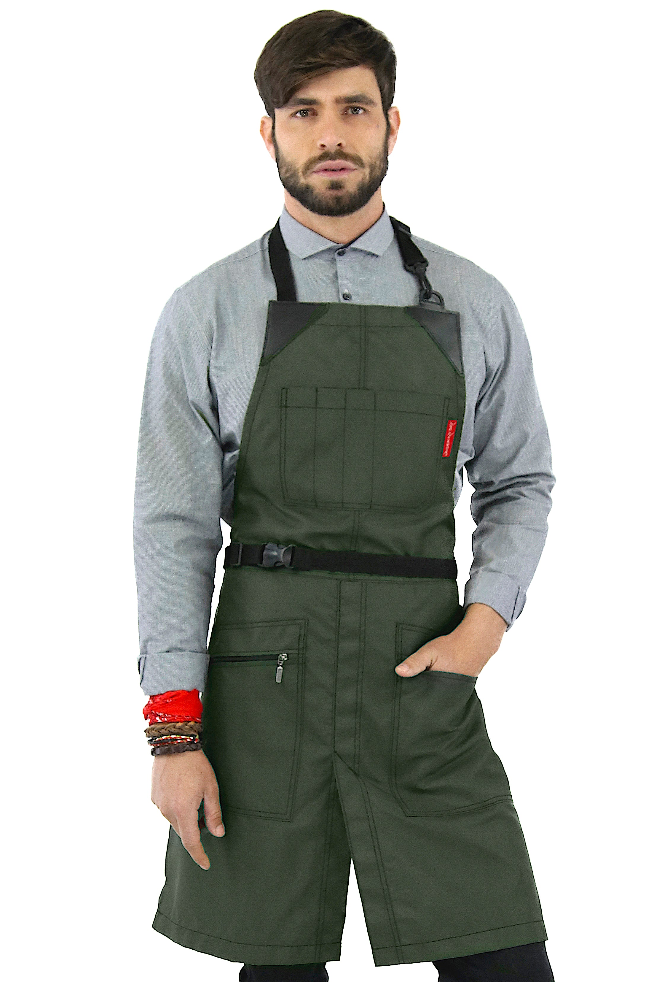 Barber Chemical Waterproof No-Tie Apron - Green Oxford Canvas