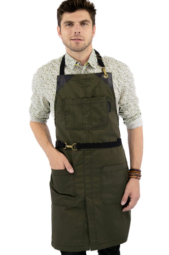 Leather Straps Apron - Green Twill