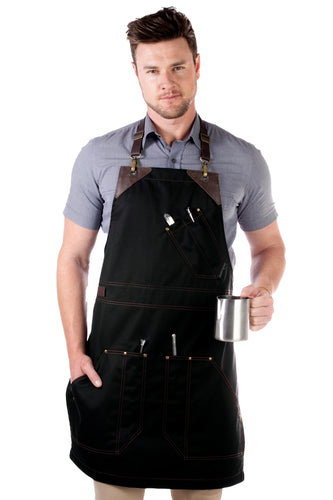 Barista Apron - Black Twill and Brown Leather