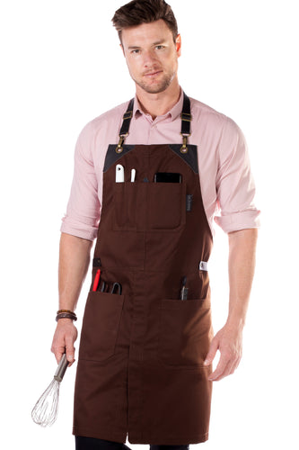 Leather Straps Apron - Brown Twill