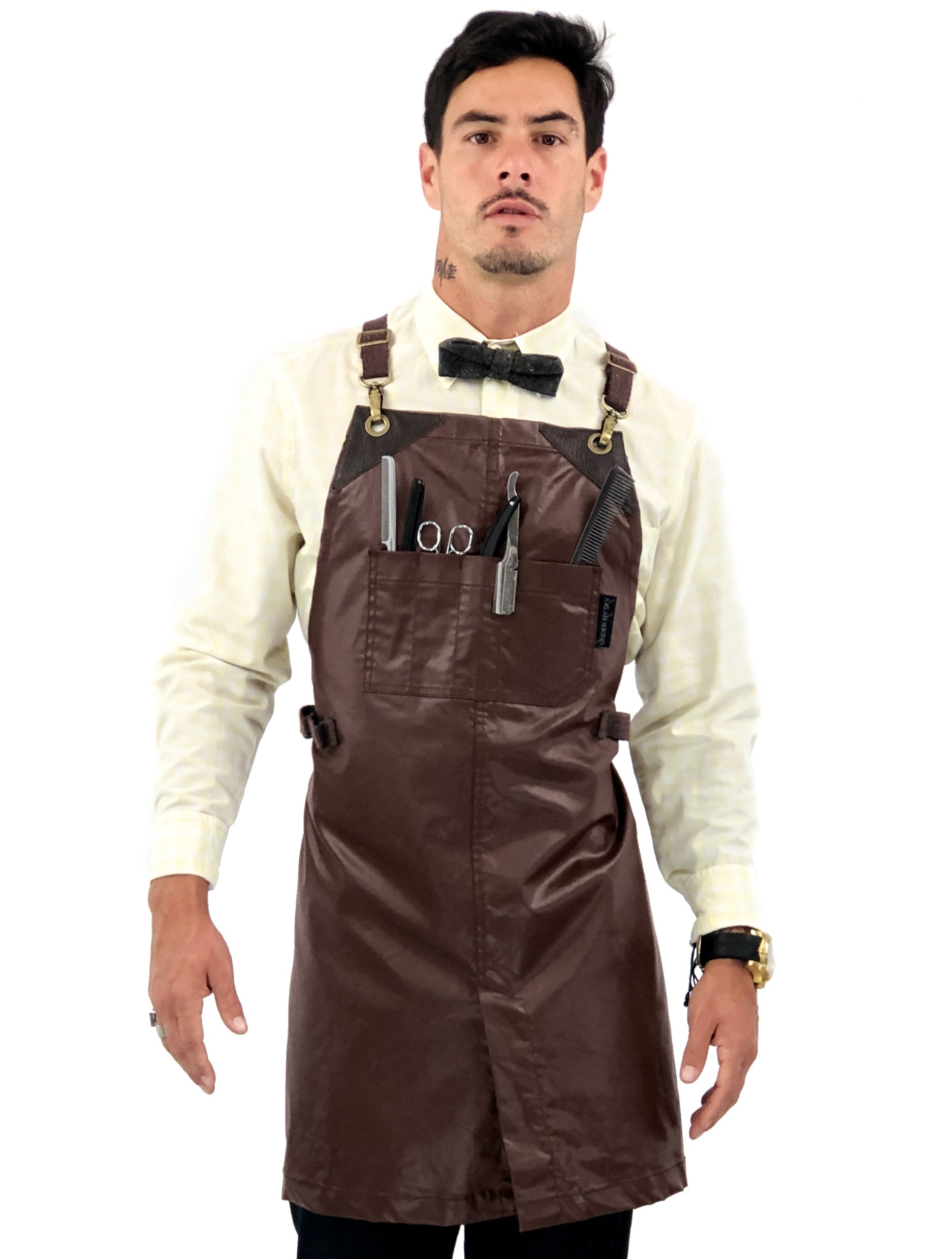 Barber Apron - Brown Water Resistant Coated Twill - Small Size