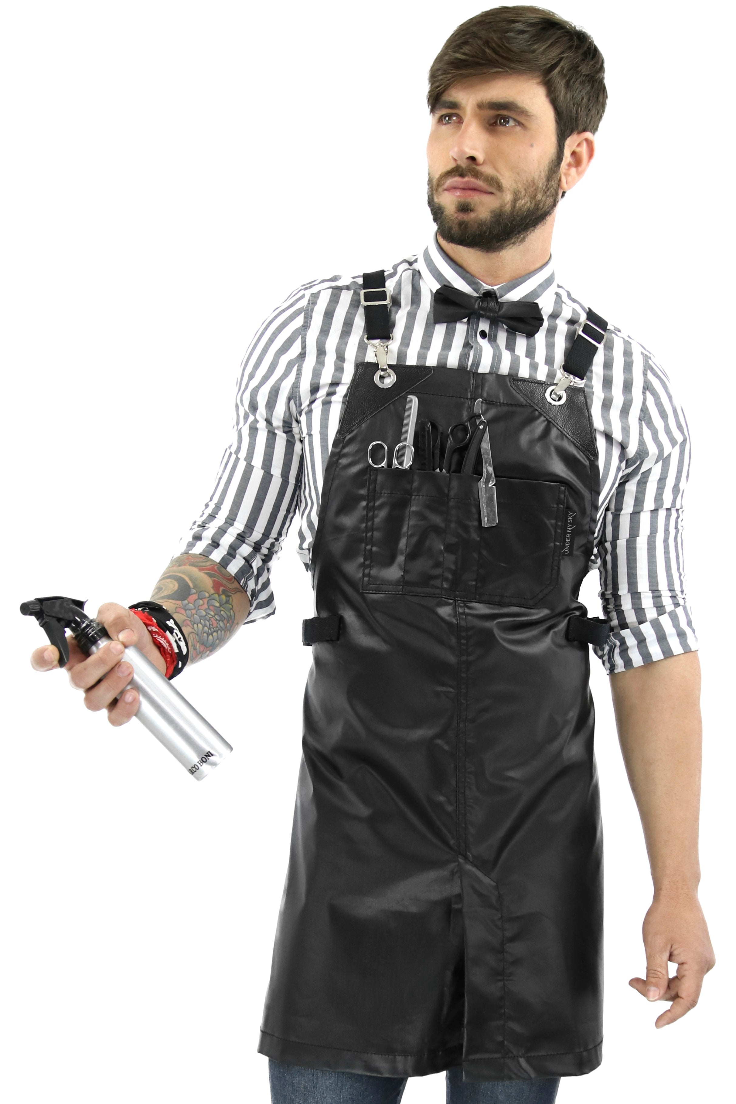 Barber Apron - Black Water Resistant Coated Twill - Chrome Hardware - Small Size