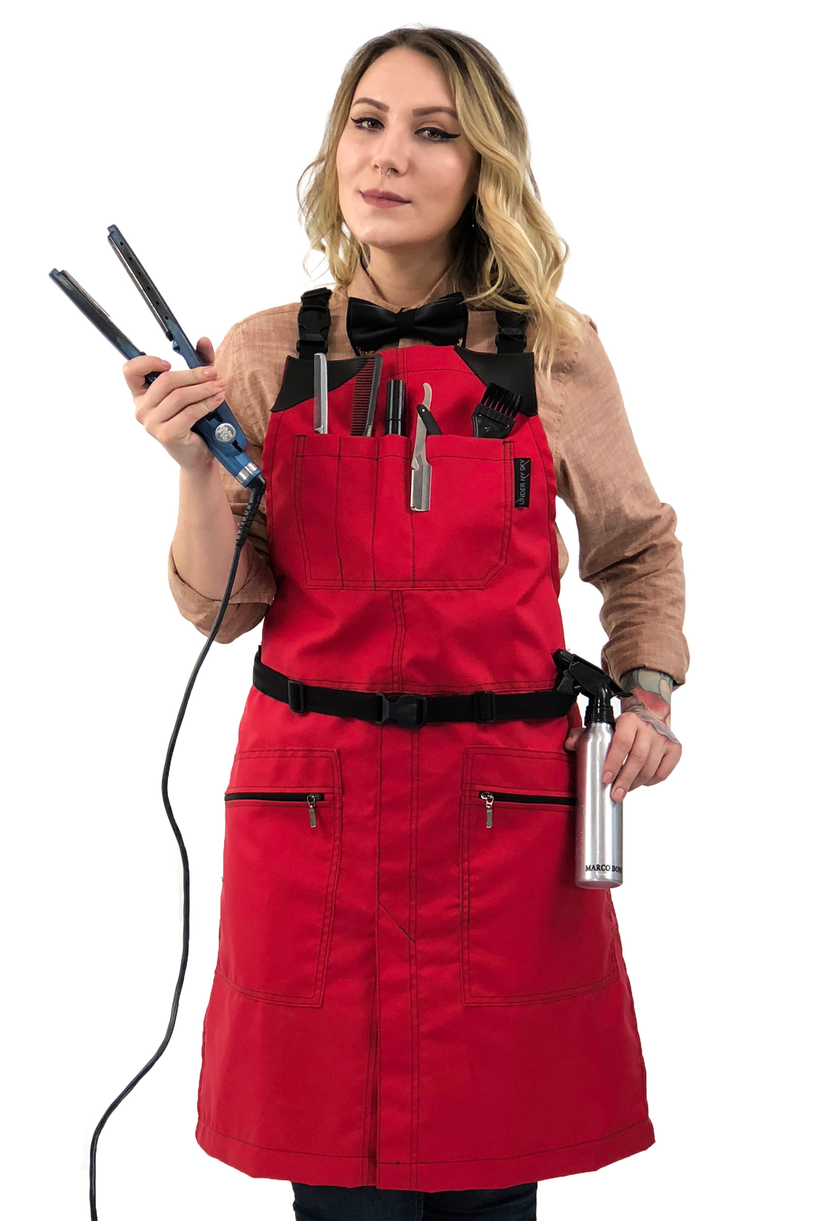 Barber Chemical Waterproof Cross-back Apron - Red Oxford Canvas