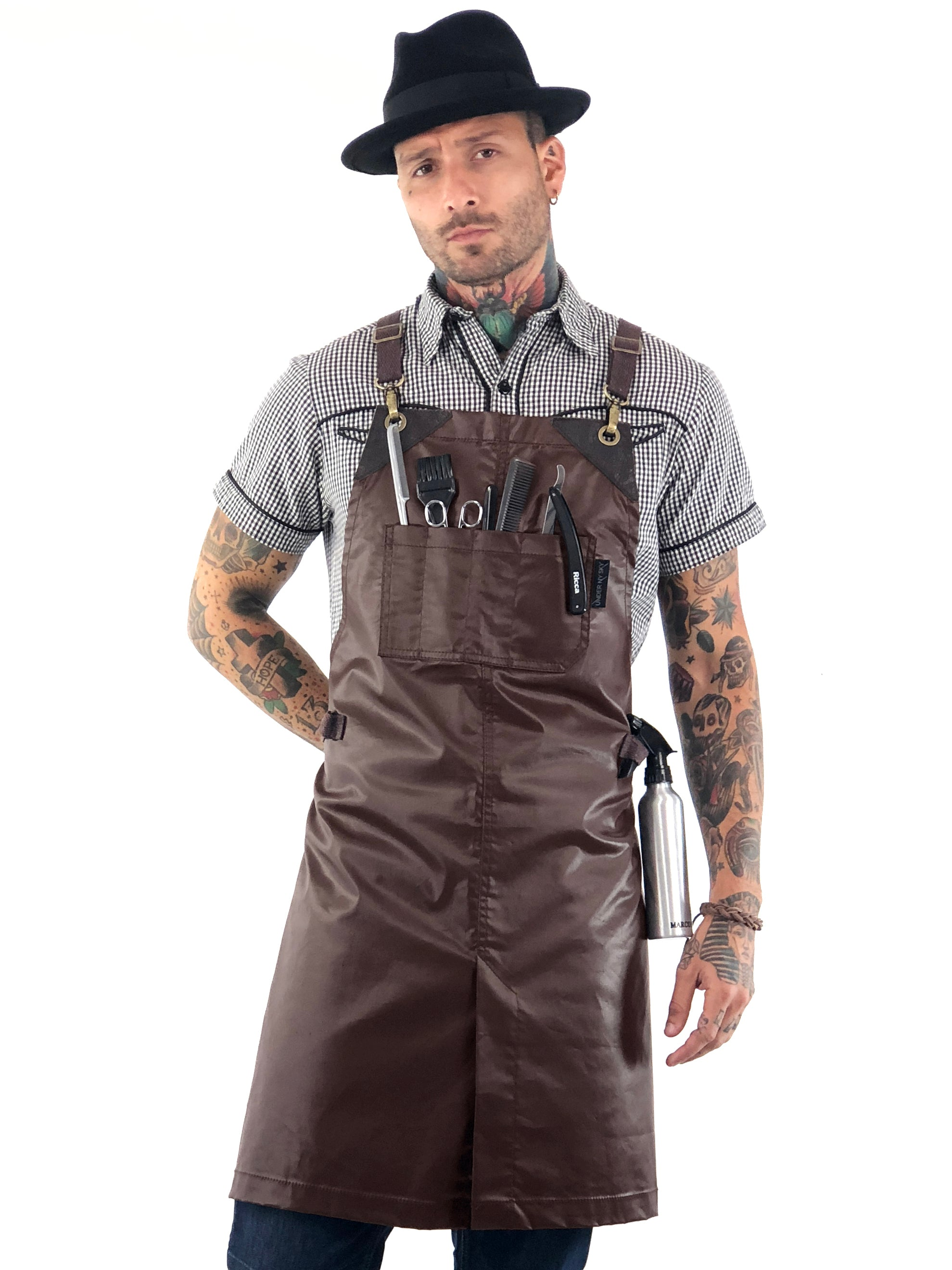 Barber Apron - Brown Water Resistant Coated Twill